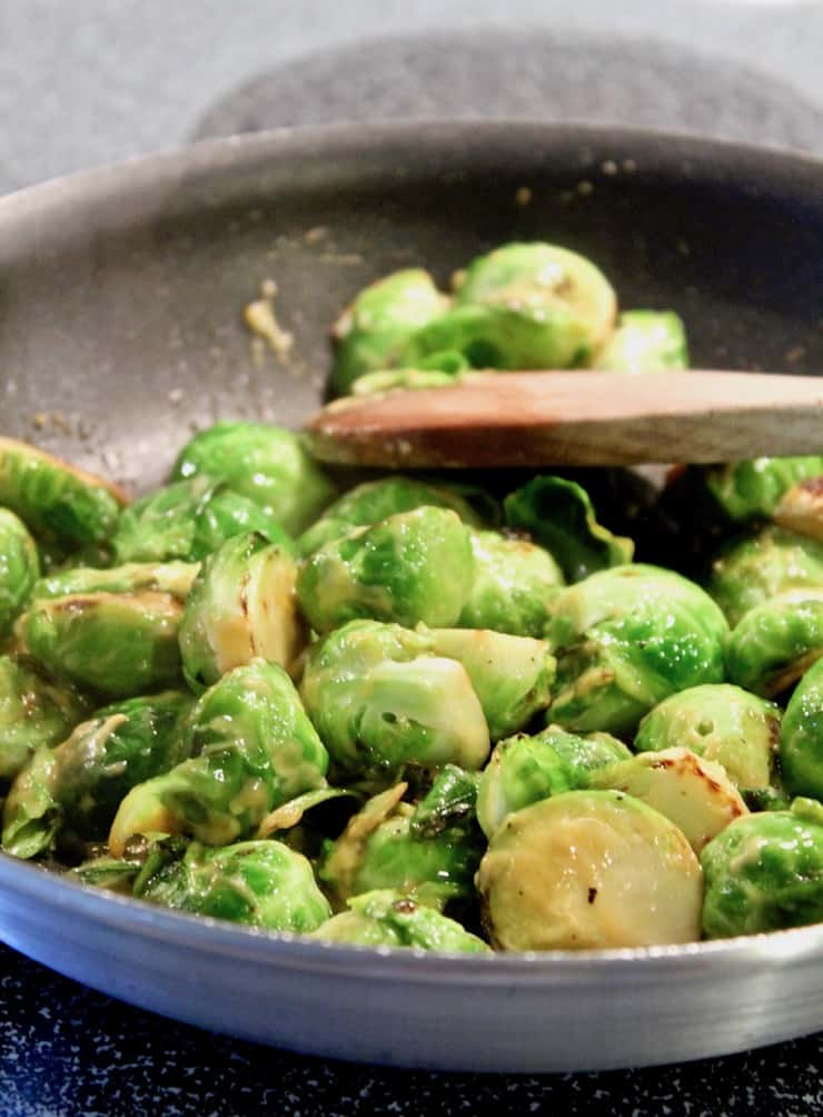 Brussels Sprouts in pan with honey and mustard
