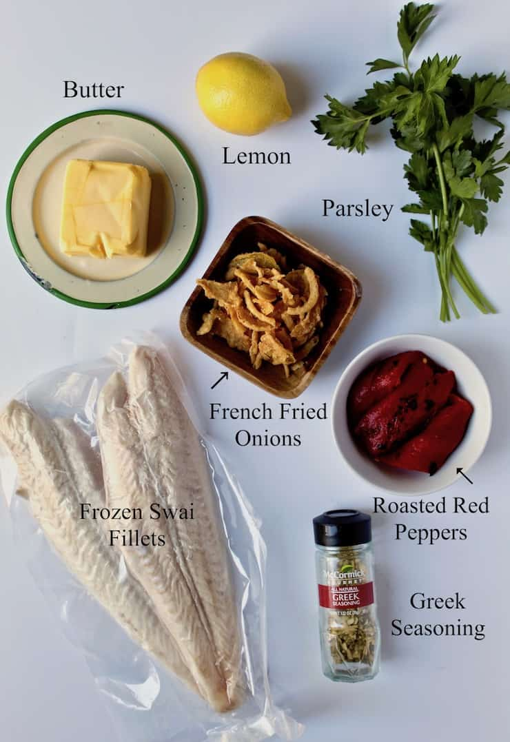 Greek Baked White Fish, ingredients on white board, labeled