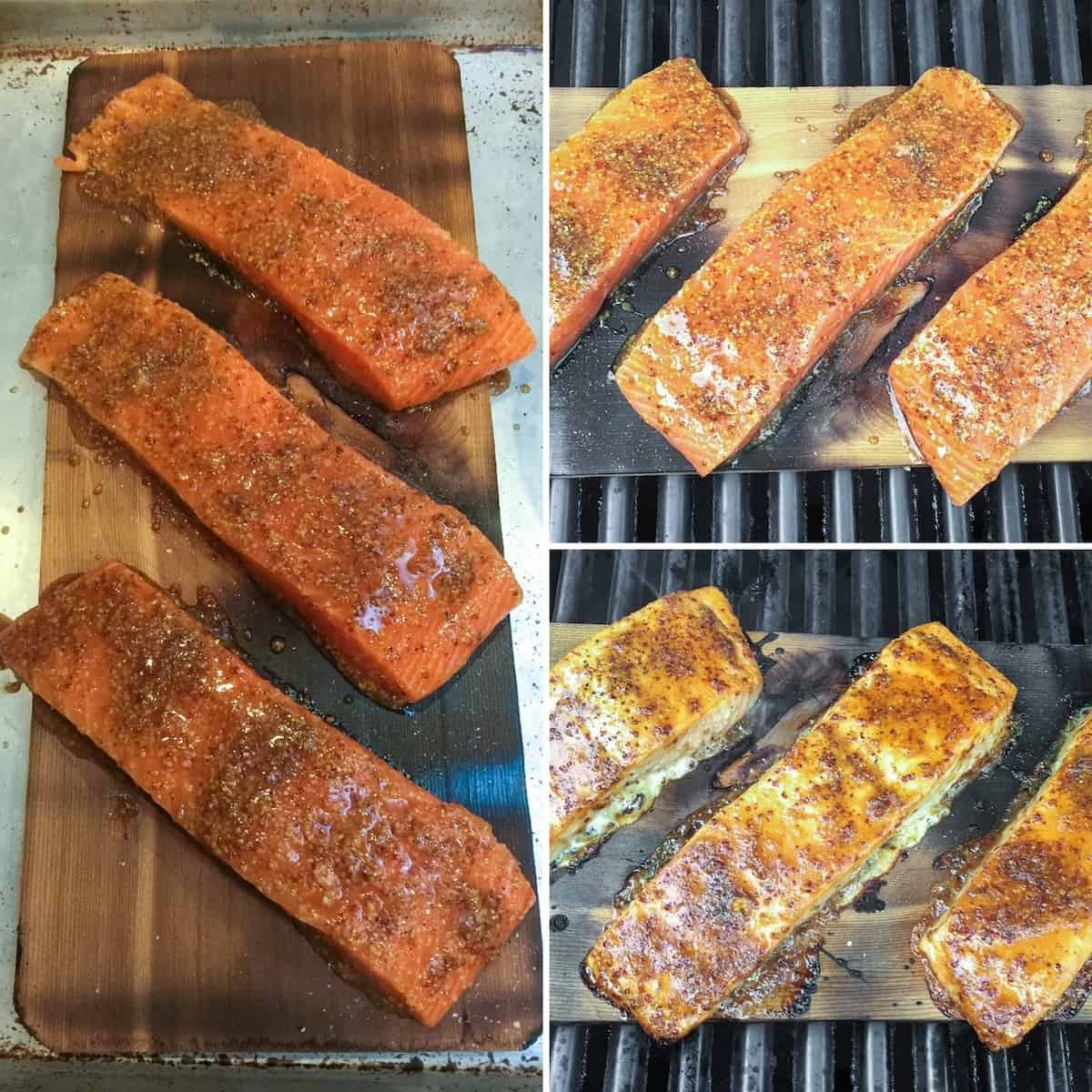 Three photo process collage, cooking salmon on cedar plank on grill.