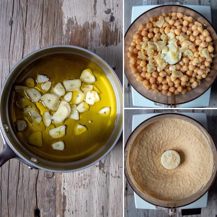 Three photo collage of process Of mellowing garlic and pureeing chickpeas.