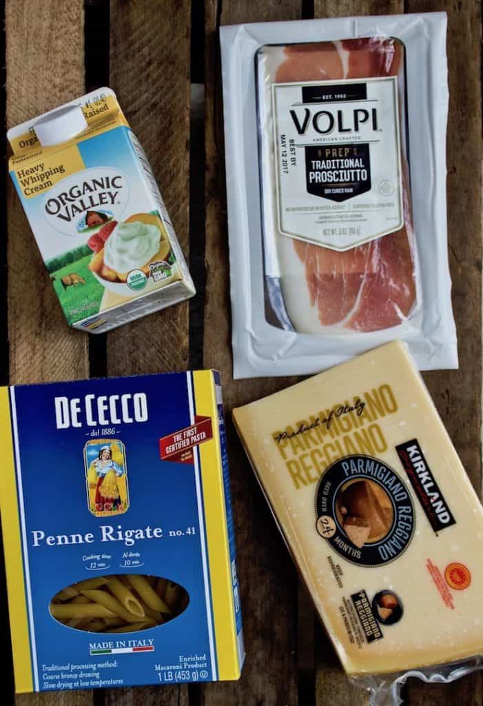 Penne with Prosciutto and Cream photo of four ingredients