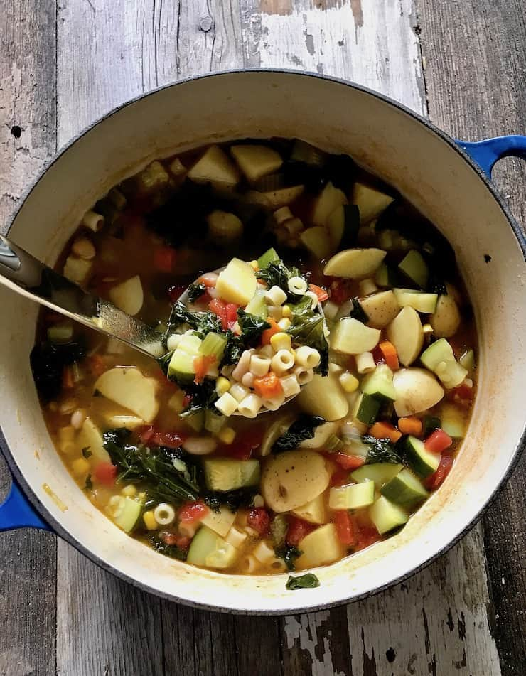 Summer Minestrone in soup pot with ladle