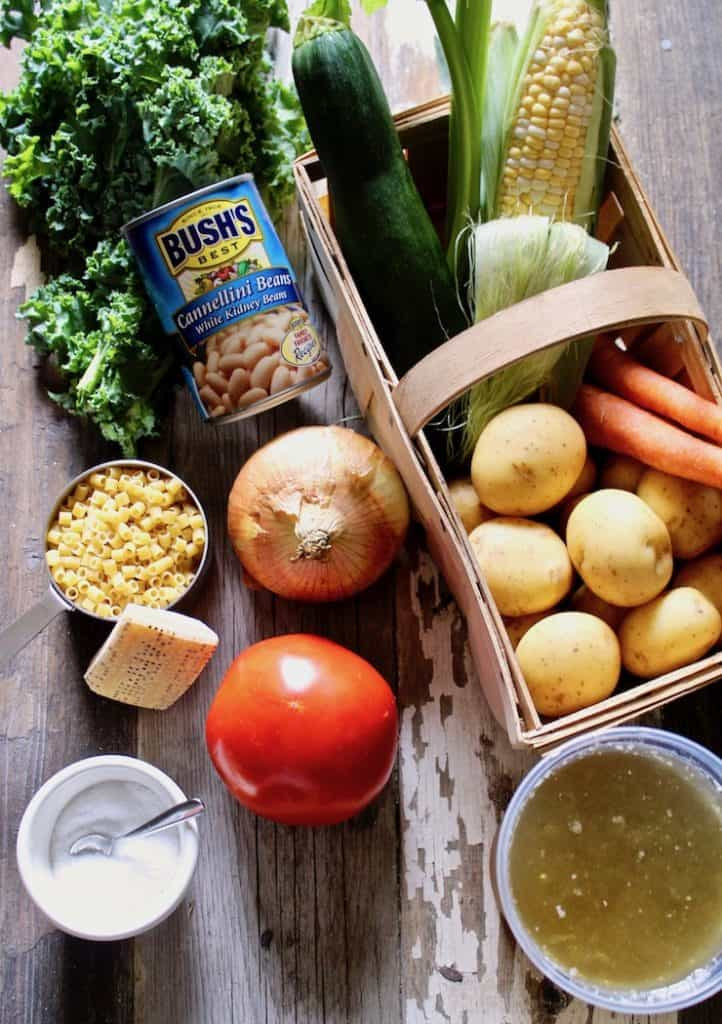 Summer minestrone ingredients, fresh vegetables in basket