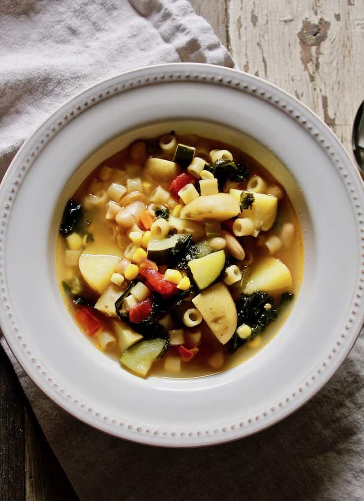 Summer minestrone in a bowl