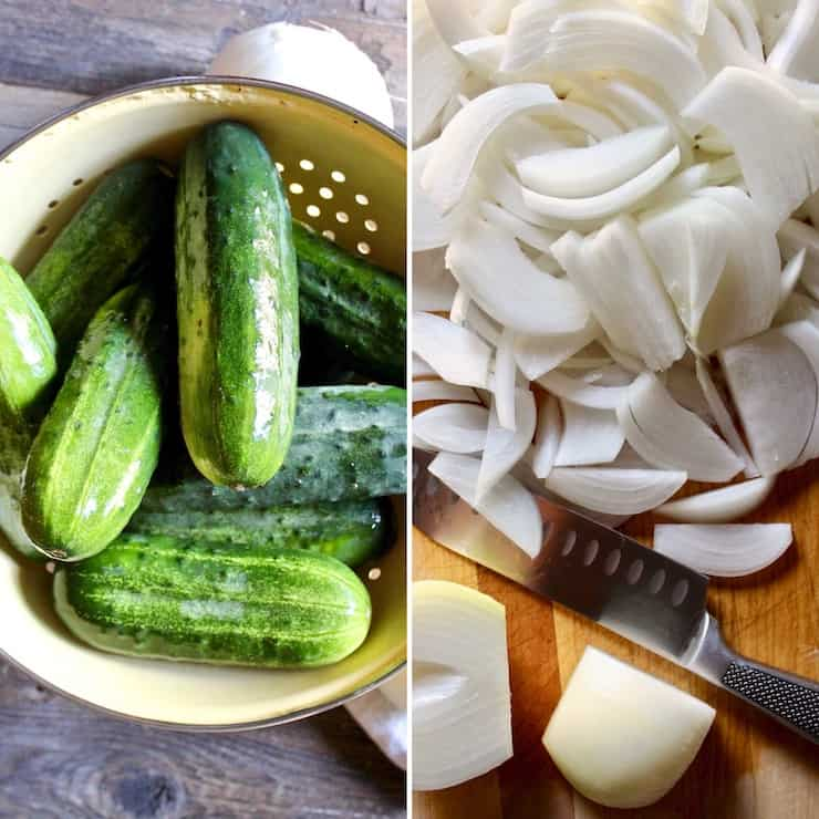 Prepping cucumbers and sliced onions collage photo