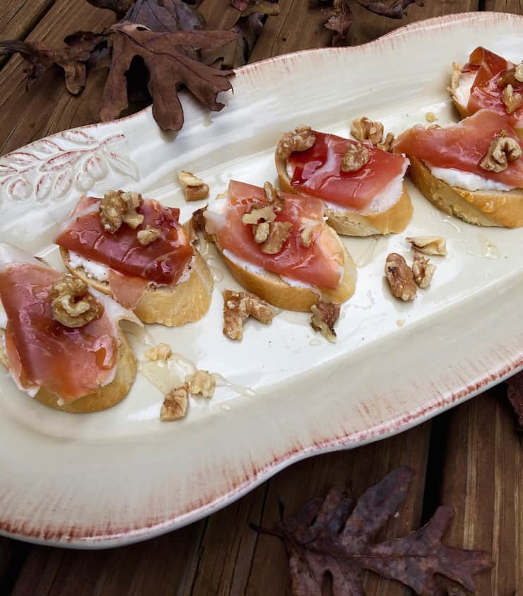 Ricotta, Prosciutto and Honey Crostini