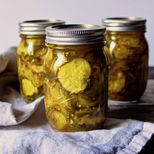 Bread and Butter Pickles, finished pickles in canning jars