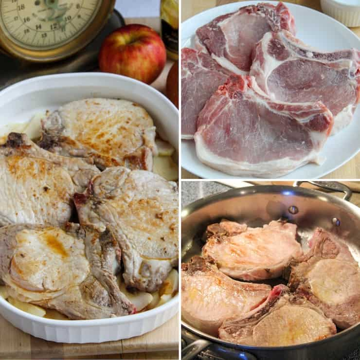 Browning pork chops process photo collage.