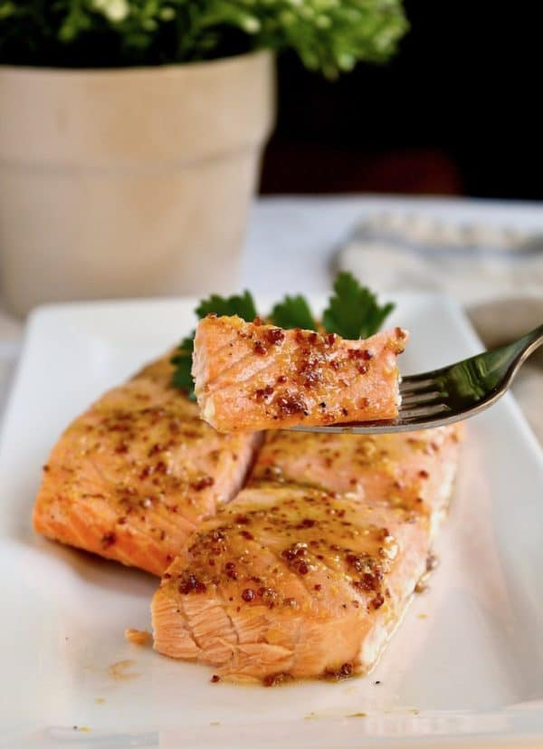 Roasted Glazed Salmon, on forkful over serving platter