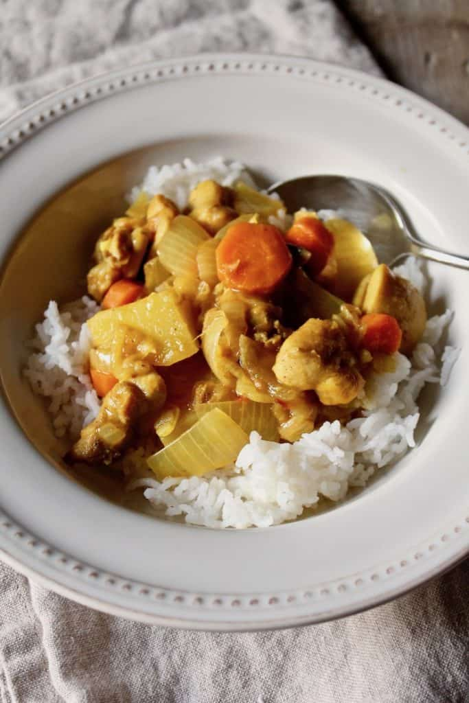 Wafuu Chicken Curry in bowl with rice