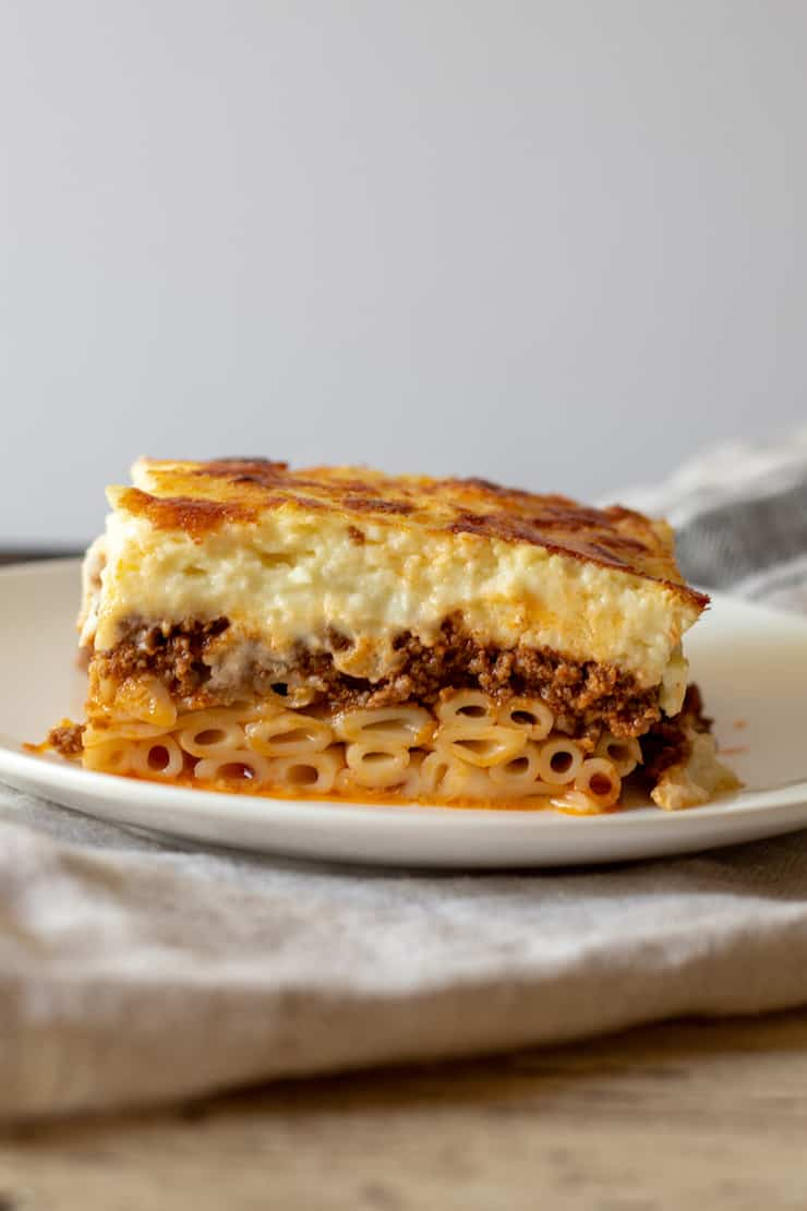 Slice of pastitsio on serving plate.