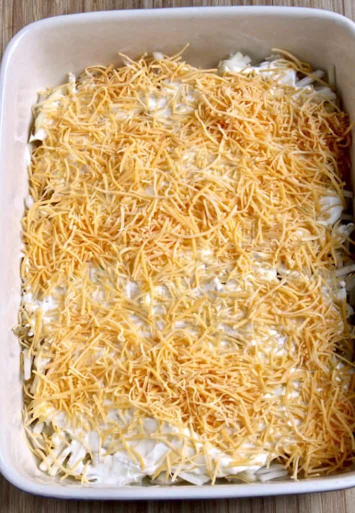 Cheesy Potatoes, process photo, shredded cheese layer