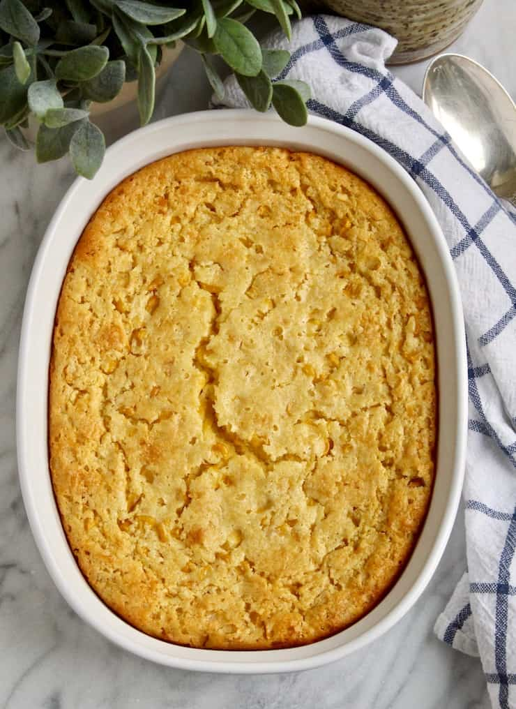 Corn Soufflé, overhead photo in oval baking dish.