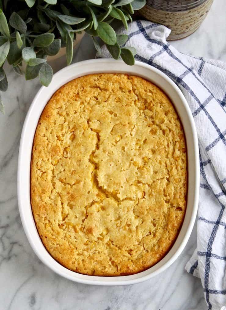 Corn Soufflé, overhead photo in baking dish