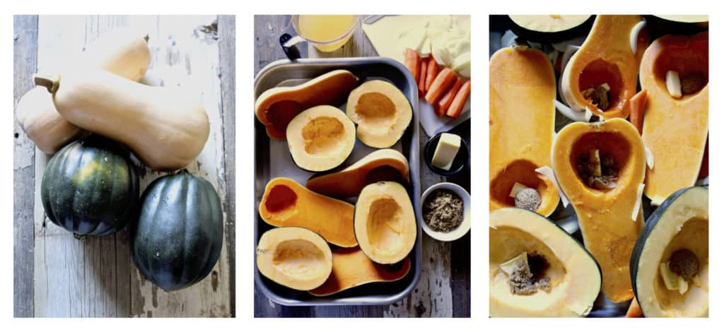 Three photo process collage of preparing squash for baking.