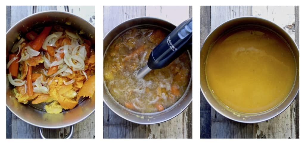 Three photo process collage of puréeing soup in pot.
