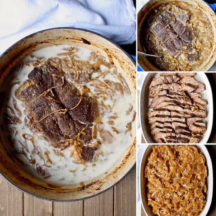 Beer-Braised Beef and Onions, collage of four photos, skimming hardened fat and layering in casserole for reheating.