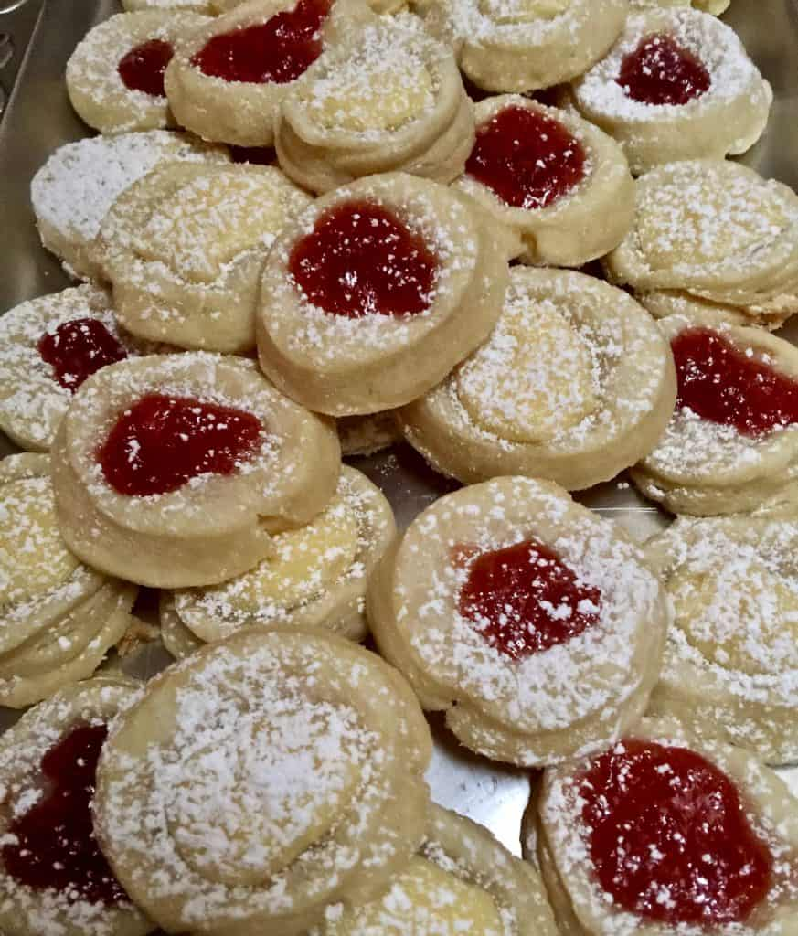 Kolachkes, jam and cheese filled cookies on platter