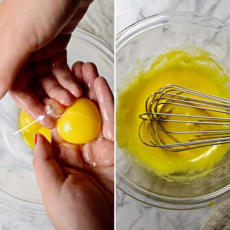 Removing chalazae from egg yolk