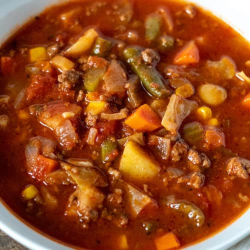 Bowl of vegetable beef soup.