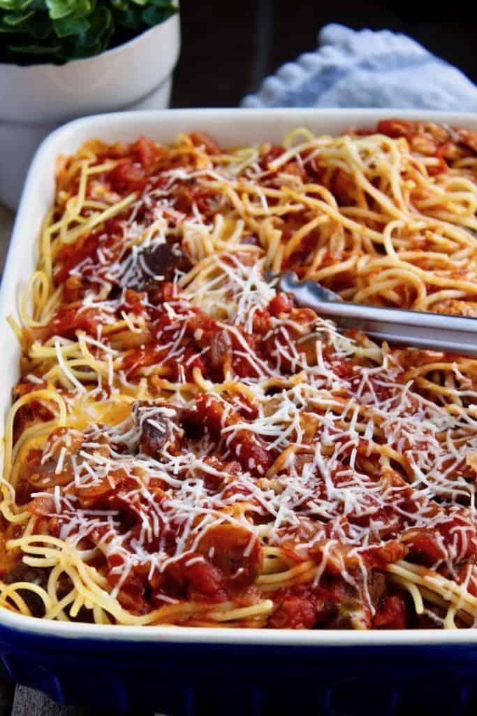 Italian Baked Spaghetti in casserole dish.