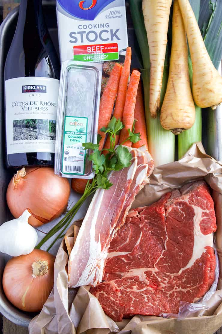 Ingredients for beef stew with red wine.
