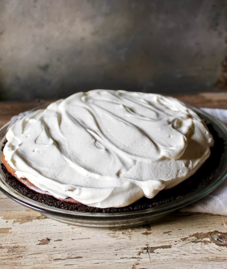 Chocolate cream pie in a pie plate