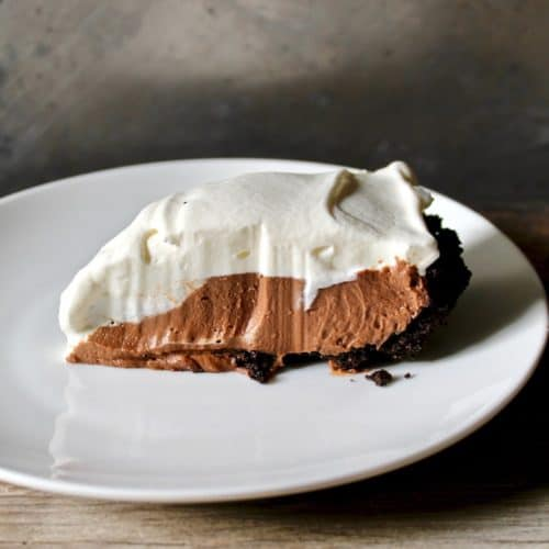 Chocolate Cream Pie slice on a plate
