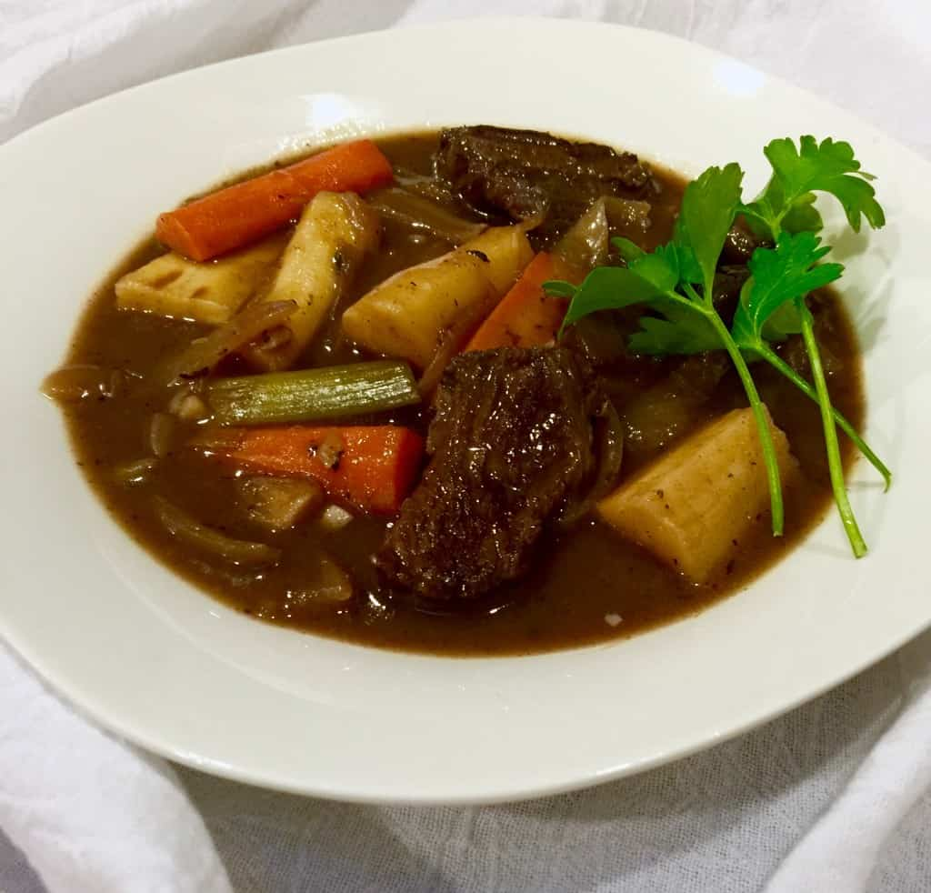 Beef Stew with Red Wine, Root Vegetables and Leeks