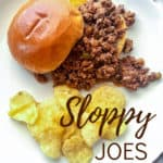 Sloppy Joes, pin for Pinterest of sandwich and chips with text.
