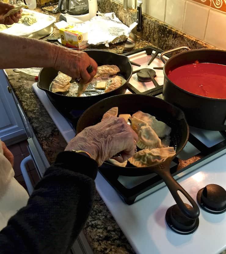 Aunt Nancy and Mom frying ravioli