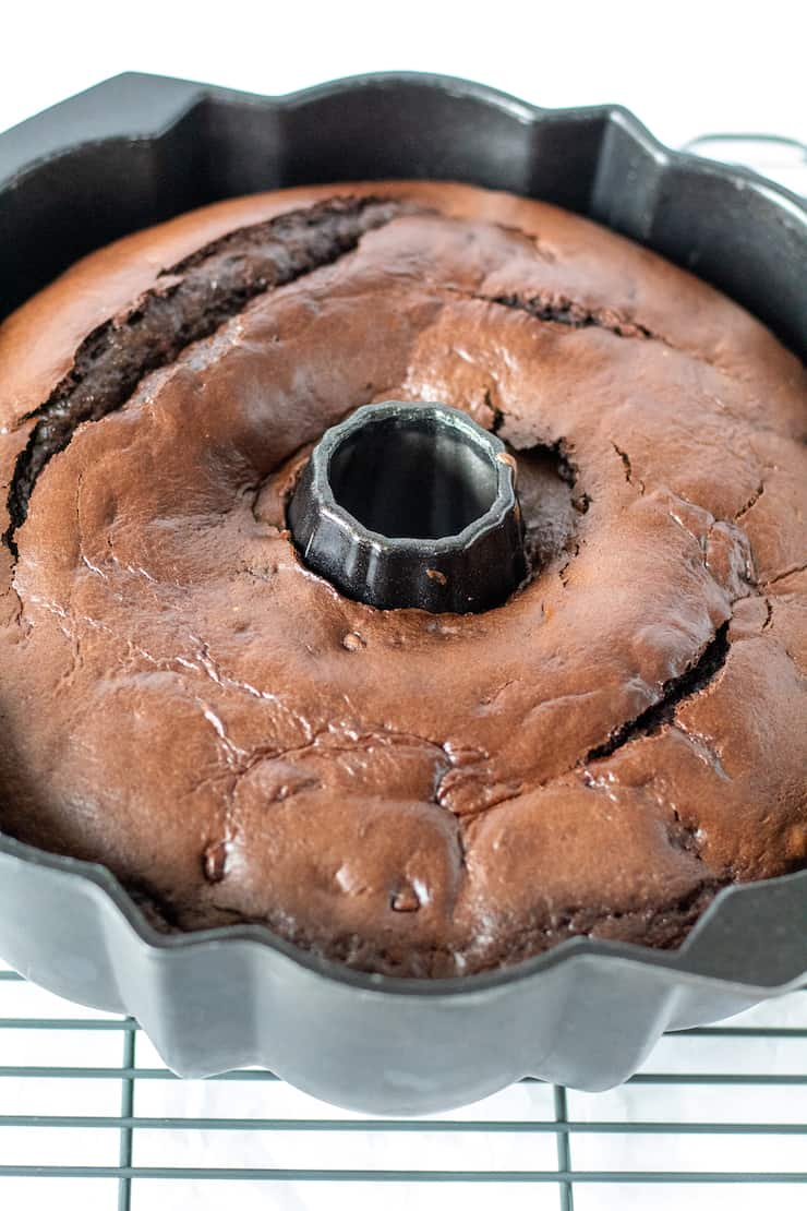 Bundt cake in pan.