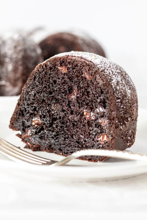 Close up of piece of triple chocolate Bundt cake on plate.