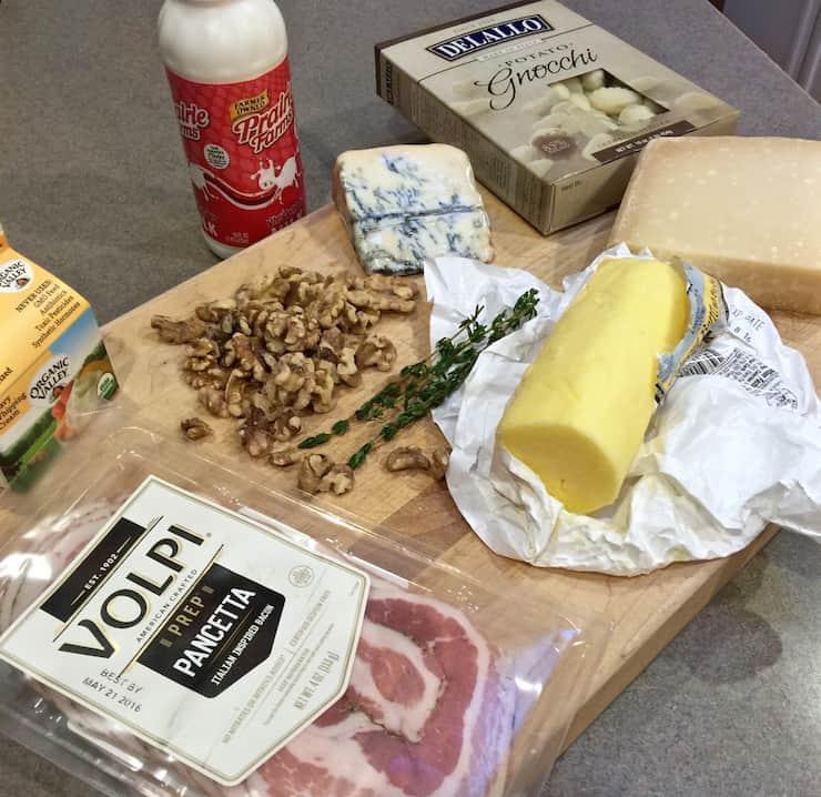 Gnocchi with Gorgonzola and Walnuts, ingredients