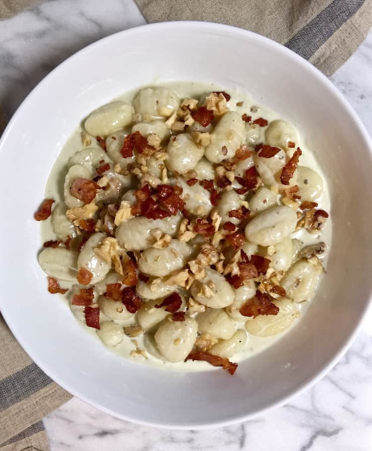 Gnocchi with Gorgonzola and Walnuts, in serving bowl.
