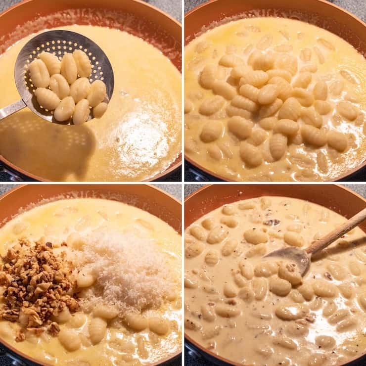 Photo collage, steps to finish assembling the gnocchi in skillt.