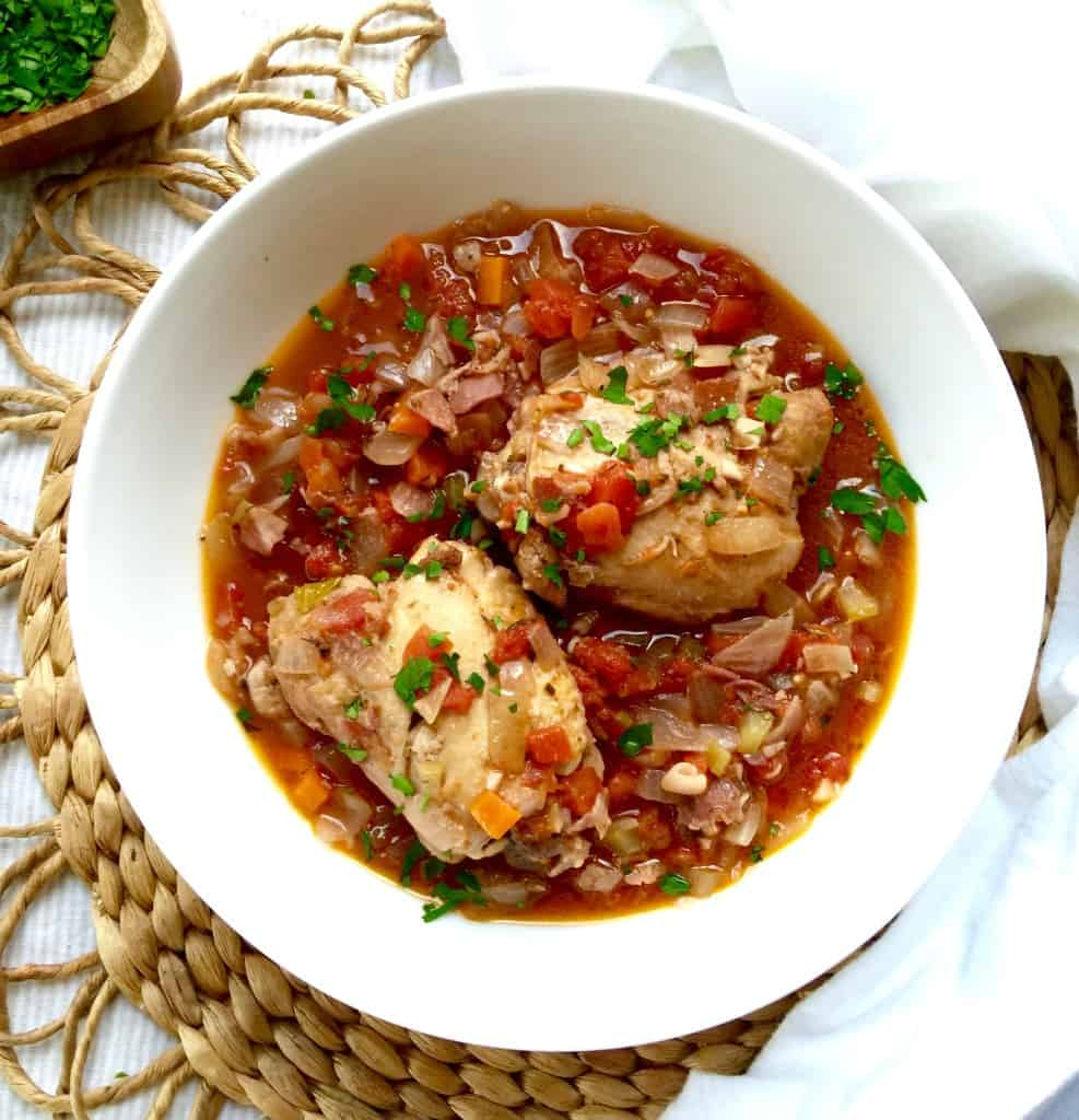 Chicken Braised with Pancetta and Tomatoes - the hungry bluebird