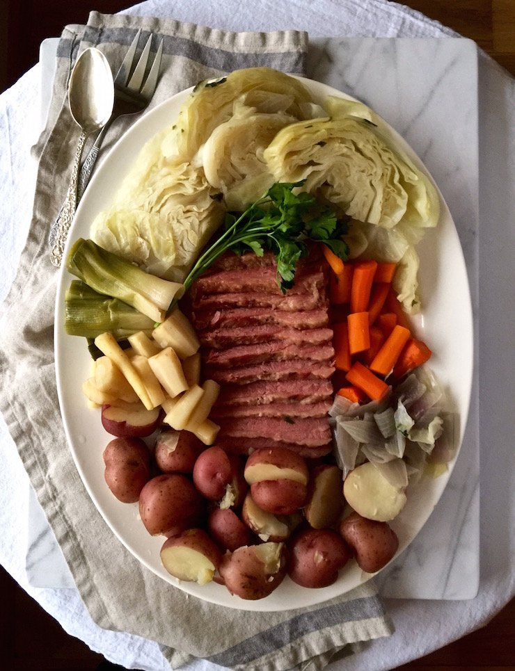 Corned Beef and Cabbage on serving platter.