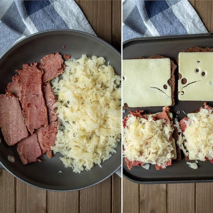 Reubens, process photo, heated corned beef and sauerkraut and assembled for grilling.