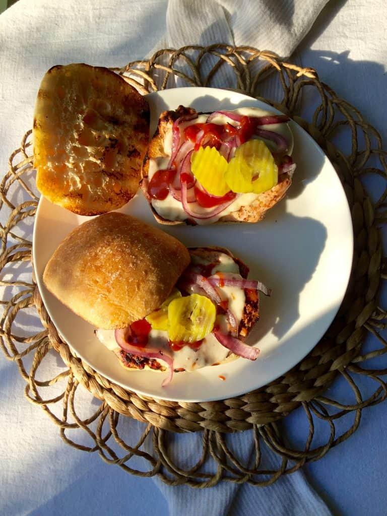 Grilled Pork Tenderloin Sandwiches, open-faced on a plate