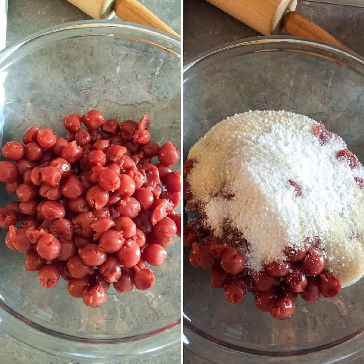 Preparing filling with sugar, tapioca and cherries, two photo collage.