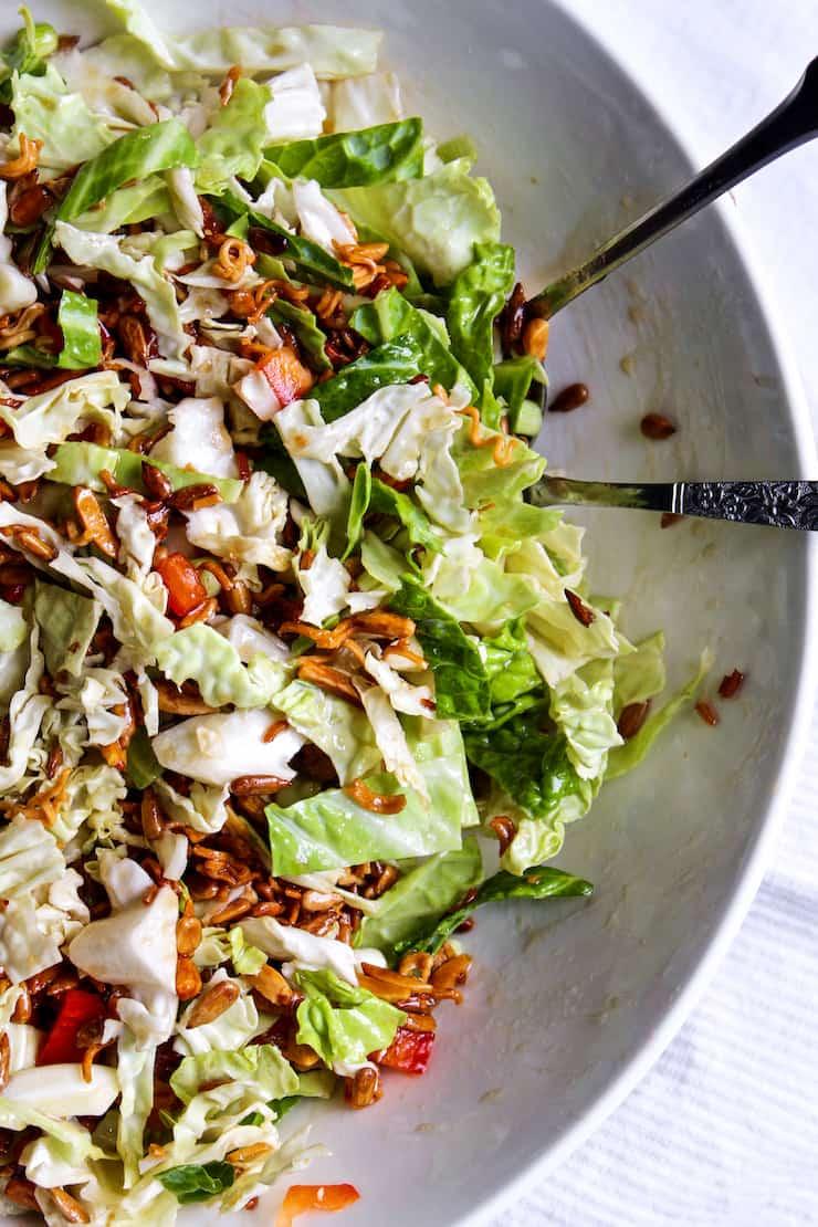 Ramen noodles salad in serving bowl.