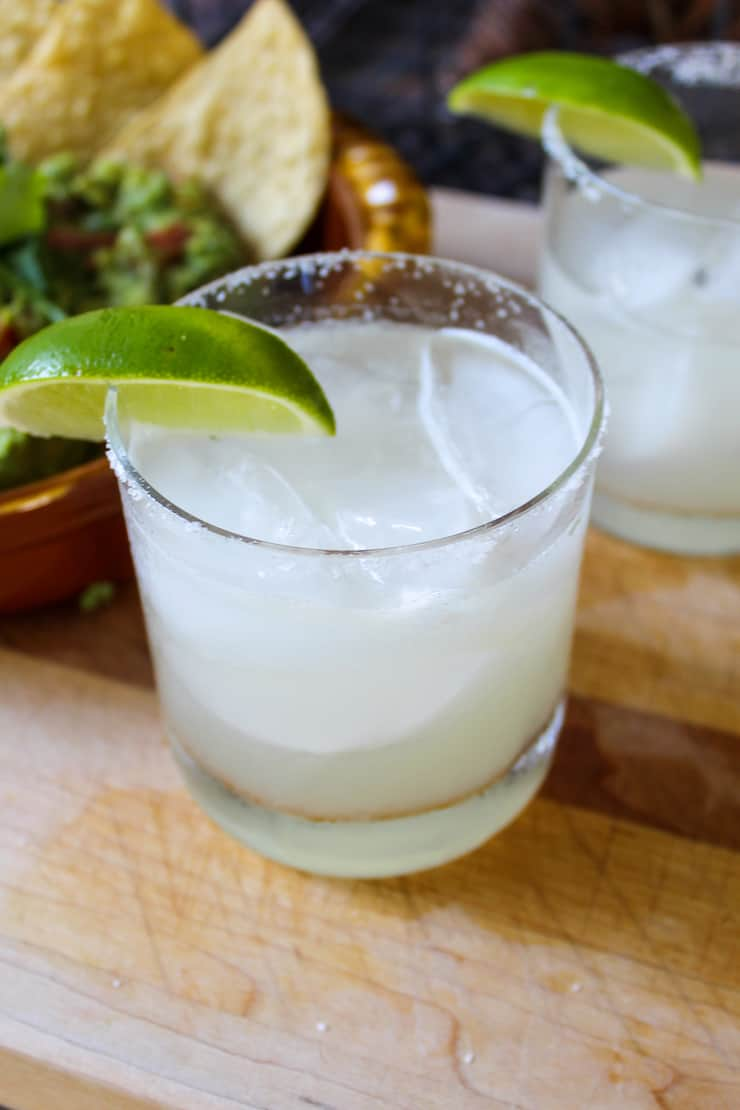 Classic margarita in rock glass with salt.