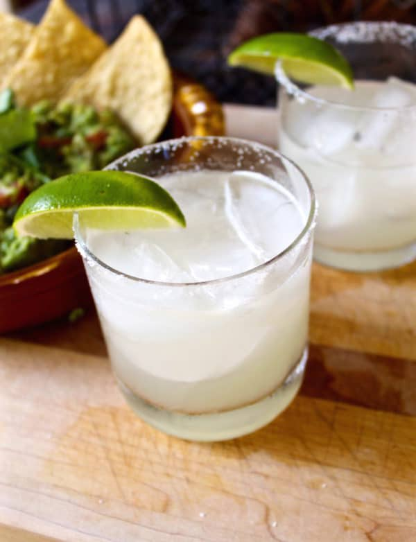 Perfect margarita on the rocks with salt.