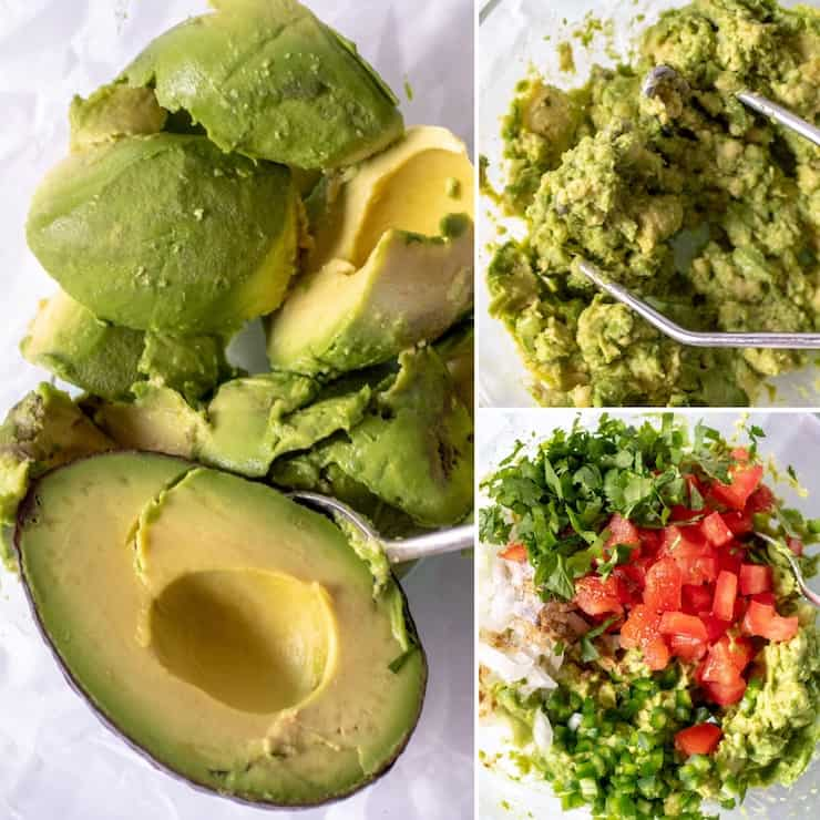 Collage of guacamole ingredients and preparation, mashing in bowl.