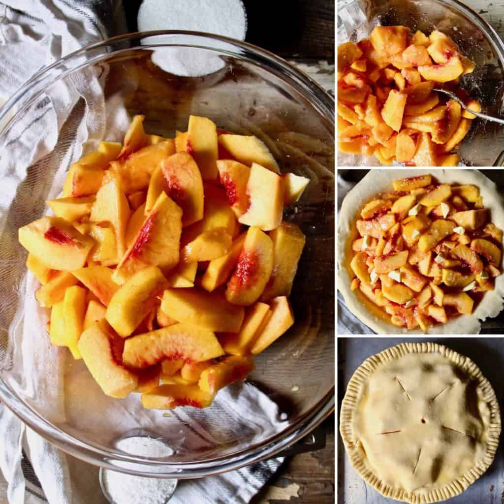 Step by step peach filling collage and pie crust filling.