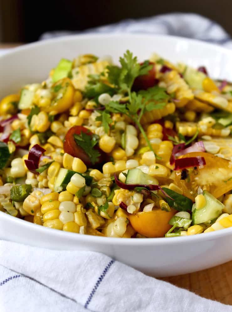 Grilled Corn Salad close up in a bowl.