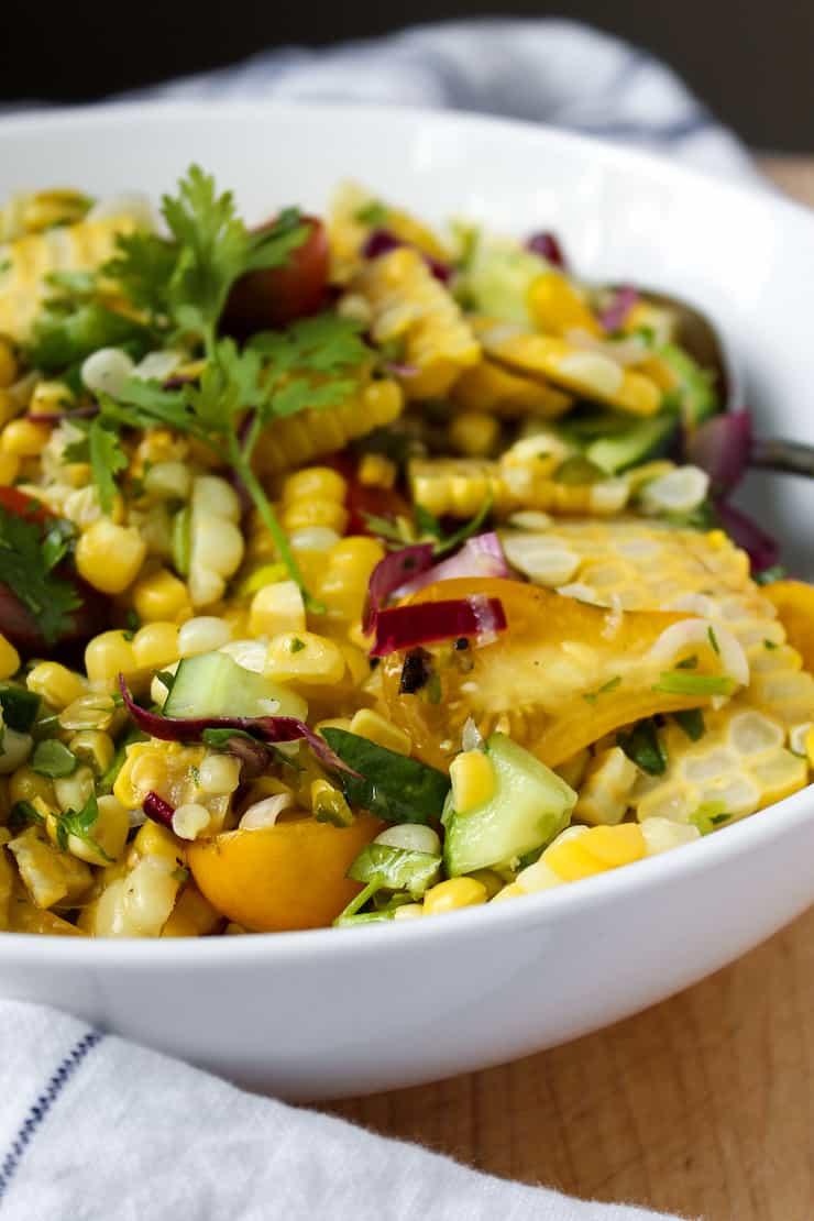 Closeup of corn salad.