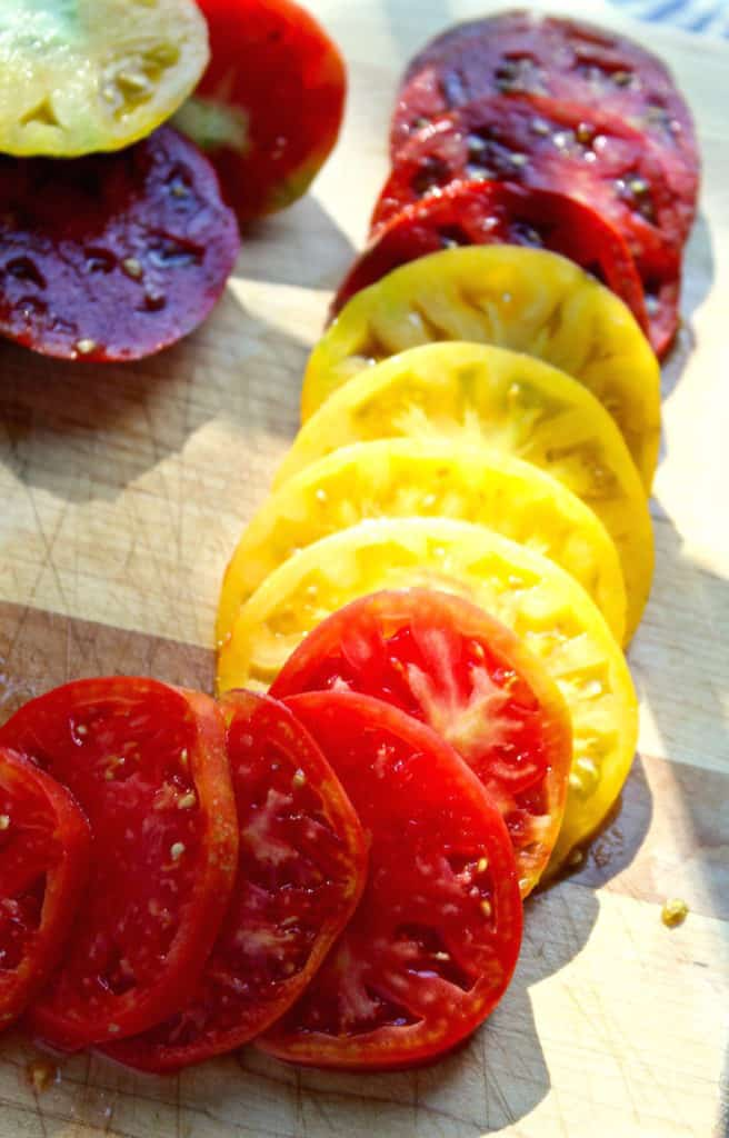 Sliced heirloom tomatoes for BLT's