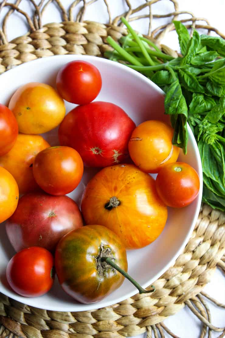Bowl of fresh, seasonal tomatoes.